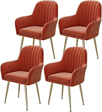 ZCXBHD Krzesła do jadalni zestaw 4 do kuchni z połowy wieku nowoczesne krzesła boczne złoty aksamitny materiał tapicerowan...