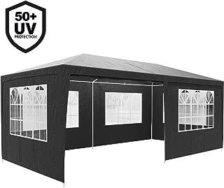 Deuba Festzelt Rimini 3x6m | UV-Schutz 50+ 18m² 6 Seitenteile wasserabweisend Pavillon Partyzelt Gartenzelt Festival Anthrazit