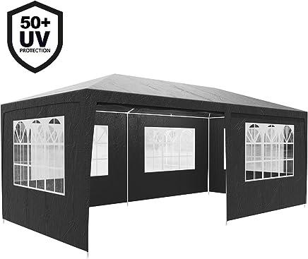 Deuba Festzelt Rimini 3x6m anthrazit | UV-Schutz 50 + | wasserabweisend | 18m² | 6 Seitenwänden | Festival Pavillon Partyzelt