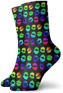 Luxury Calcetines de Deporte Lipstick Rainbow Pattern Unisex Socks, All-Season Casual Comfortable Soft Ankle Socks Crew Socks