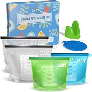 Carpe Reusable Silicone Food Storage Bag (4) + Silicone Mitten + Scrubber Sponge | Eco-friendly EPA-free Leakproof Reusable Ziplock Bags for Sandwich, Sous Vide, Snack, Lunch| Freezer, Dishwasher Safe