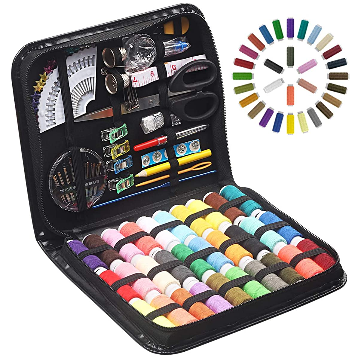 STURME Sewing KITS 112pcs Premium Sewing Tool Kit with PU Case 30 XL Thread Spools Perfect for Home Travel and Emergency Use