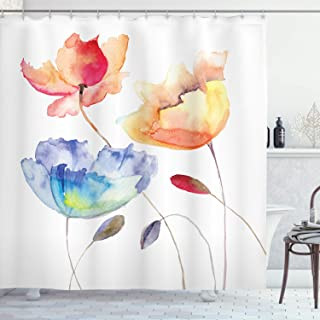 Ambesonne Watercolor Flower Shower Curtain, Summer Flowers in Retro Style Painting Effect Nature is Art, Cloth Fabric Bathroom Decor Set with Hooks, 70