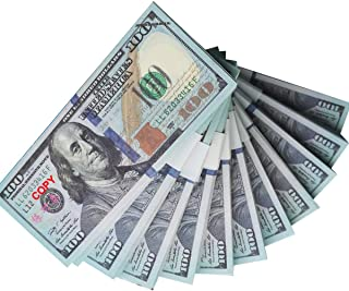 Nice gift Movie Prop Play Money Full Print 2 Sided,100 pcs 100 and 10 pcs 20 Dollar Bills Stack,Copy Money for Movies,Videos,Fun,Teaching and Birthday Party