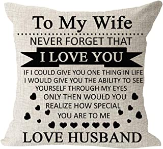 Anniversary Birthday to My Wife I Love You You are Special to Me Love Husband Cotton Linen Square Throw Waist Pillow Case ...