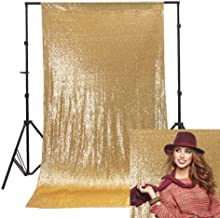 Wisfor Gold Glitter Backdrop Curtain 3x6ft Photoshoot Background for Birthday Party Wedding Photography Decoration Gold Sequin Curtains