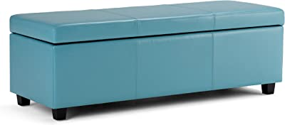Simpli Home Avalon 48 inch Wide Rectangle Lift Top Storage Ottoman Bench in Upholstered Blue Faux Leather with Large Storage Space for the Living Room, Entryway, Bedroom, Contemporary