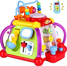 AOKESI Toddler Activity Toy,Musical Activity Cube,Toddler Play Center with Sound&Lights, Shape & Color Sorter, Bead Maze & Counting, 15 Activities Skill Development Learning Toy for Kids Toddler