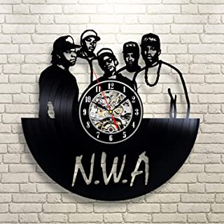 La Bella Casa N.W.A. Hip Hop Group Vinyl Wall Clock Modernt Unique Wall Home Decor Original Handmade Clock Vintage Gift Anniversary Party Valentines Gift for Boy Girl Gift Ideas for Him and Her