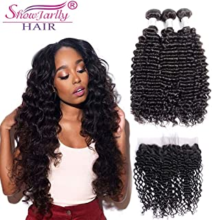 ShowJarlly Raw Indian Deep Wave 3 Bundles with Frontal 13x4 Ear to Ear Lace Frontal Closure With Baby Hair and Bundles 8A Indian Deep Curly Virgin Hair with Closure