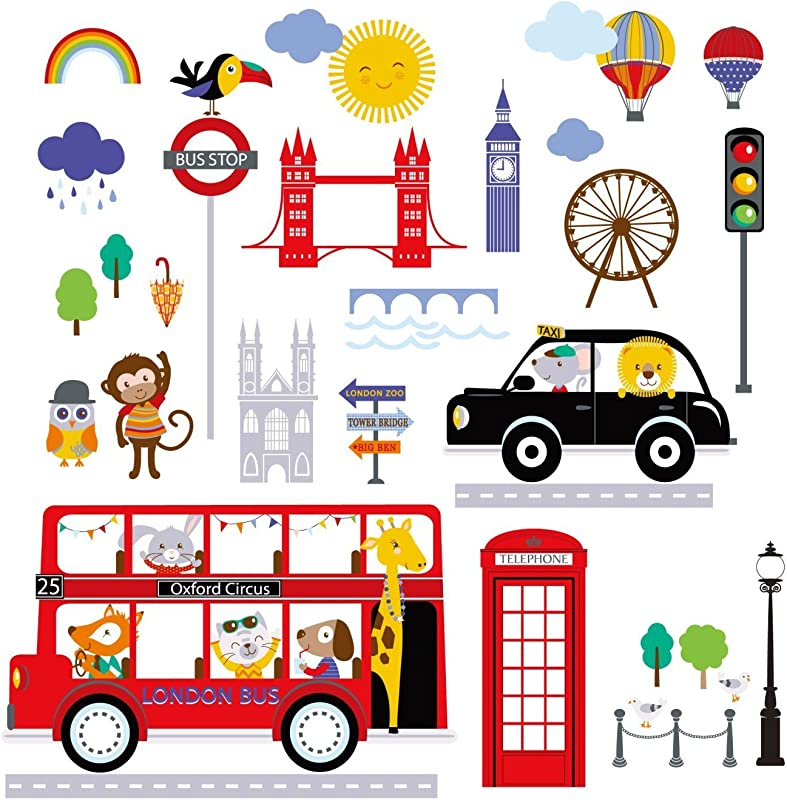 Bus To London Baby Nursery Wall Sticker Decals For Boys And Girls