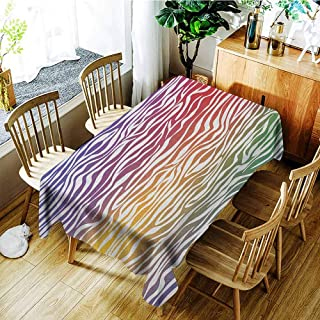 VIVIDX Tablecloth for Kids/Childrens,Zebra Print,Party Decorations Table Cover Cloth,W60x120L Purple Red Yellow