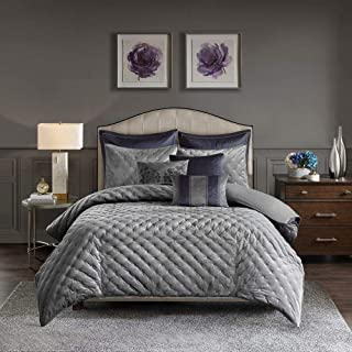 9 Piece Modern Silver Grey Comforter Exquisite Solid Color Regal Pleating Embroidered Detailed Design Velvet Comforter Set King Luxurious Oversized Overfilled Silky Textured Soft Decor Glam Bedding
