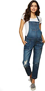 Motherhood Maternity Women's Maternity Indigo Blue Side Panel Skinny Ankle Length Denim Overalls