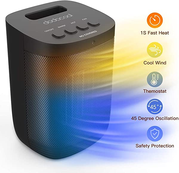 Dodocool 2 In 1 Fan Heater Space Air Cooler Black 1200W Portable 2S Electric Ceramic Space Heater Cooler Fan With Cold Heat Settings Purify Air Function With Tip Over Over Heat Protection