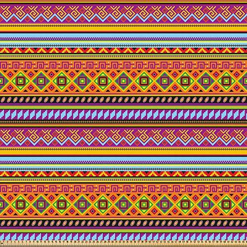 ABAKUHAUS Mexicaans- Stof per strekkende meter, Folk Vintage Geometrische, Microvezel Stof voor Kunstnijverheid, 5 m, Veelkleurig