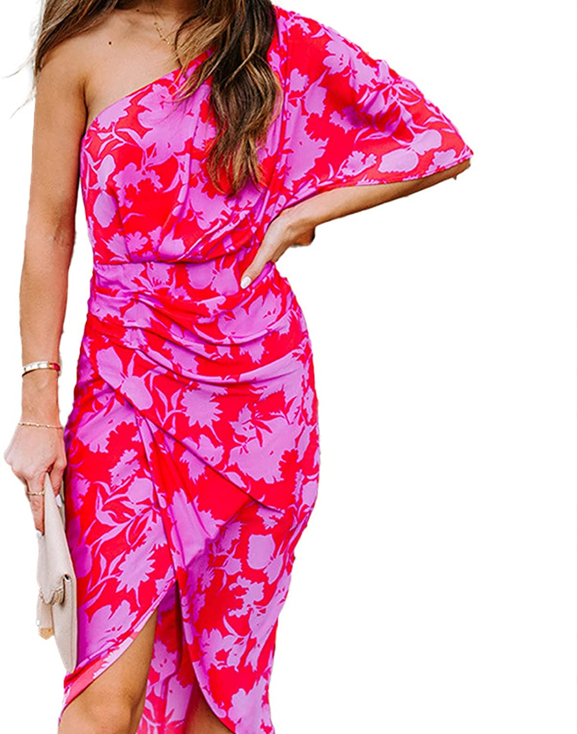 Memorose Women's One Shoulder Sleeveless Irregular Hem Party Bodycon Dress Floral Print Ruched Dress Cover Belly
