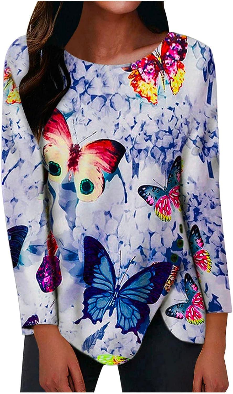 Pandaie Butterfly Print Tops for Women Tie Dye Trendy V Neck Long Sleeve Tees Shirt Teen Girls Dressy Blouse Pullover