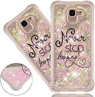 ISADENSER Samsung Galaxy j6 2018 Case Clear Soft TPU Glitter Stylish Design 3D Hearts Quicksand Shiny Flowing Liquid Protective Cover Samsung Galaxy j6 2018 (EU Version) Pink Never Stop