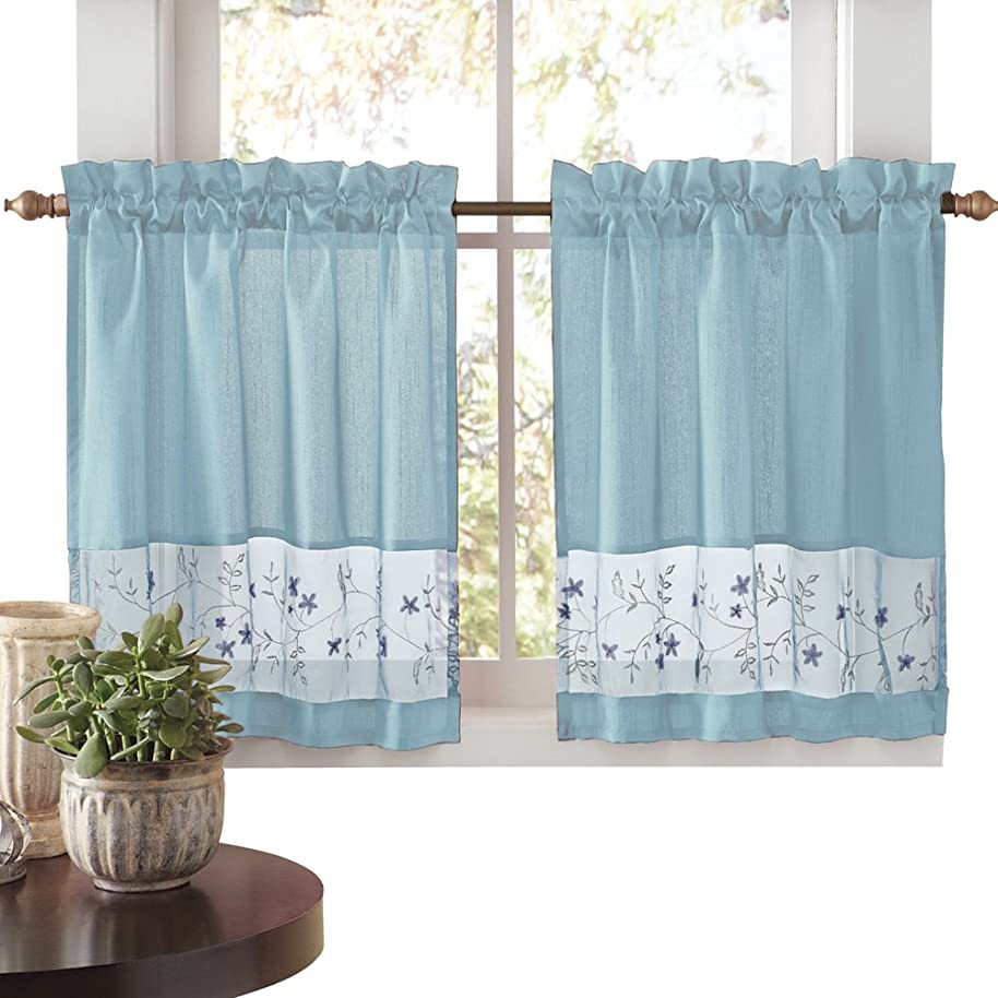 Collections Etc Embroidered Vines Fairfield Rod Pocket Kitchen Cafe Curtain, Blue, 58
