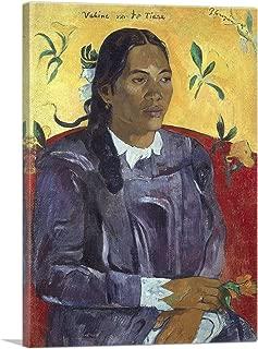 ARTCANVAS Woman with a Flower - Vahine no te Tiare 1891 Canvas Art Print by Paul Gauguin - 18