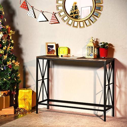 FurnitureR Mesa Consola rústica, Mesa de Entrada Vintage Mesa de sofá Industrial Mesa de Entrada angosta para Pasillo...