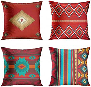 ArtSocket Set of 4 Throw Pillow Covers South Southwest Western Tribal Red Native American..