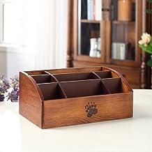 LWT ソリッドウッドリモートストレージボックス木製リビングルームオフィスクリエイティブデスクトップ仕上げ化粧品収納ボックスアメリカカントリースタイル(27.5 * 16.5 * 12センチメートル)ブラウン (Color : A)