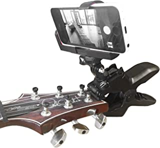 Guitar Headstock Cell Phone Clamp Clip Mount for Smartphones and Gopro Action Cameras ~ Close Up Home Recording