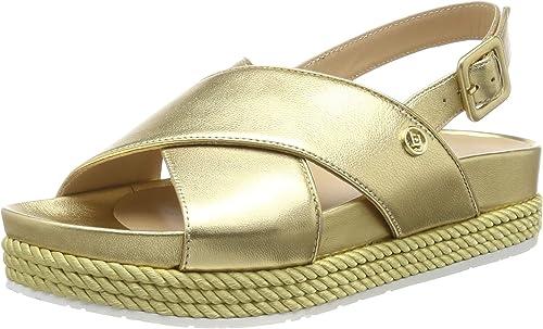Liu Jo Patty 02-Sandal Metallic Leather Gold, Sandalias con Punta Abierta para damen