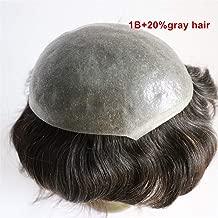 Lumeng Hairpiece Gray Men1B20# Grey hair Toupee for men Hair pieces for old men 100% human hair replacement system grey hair men toupee, 10 x 8
