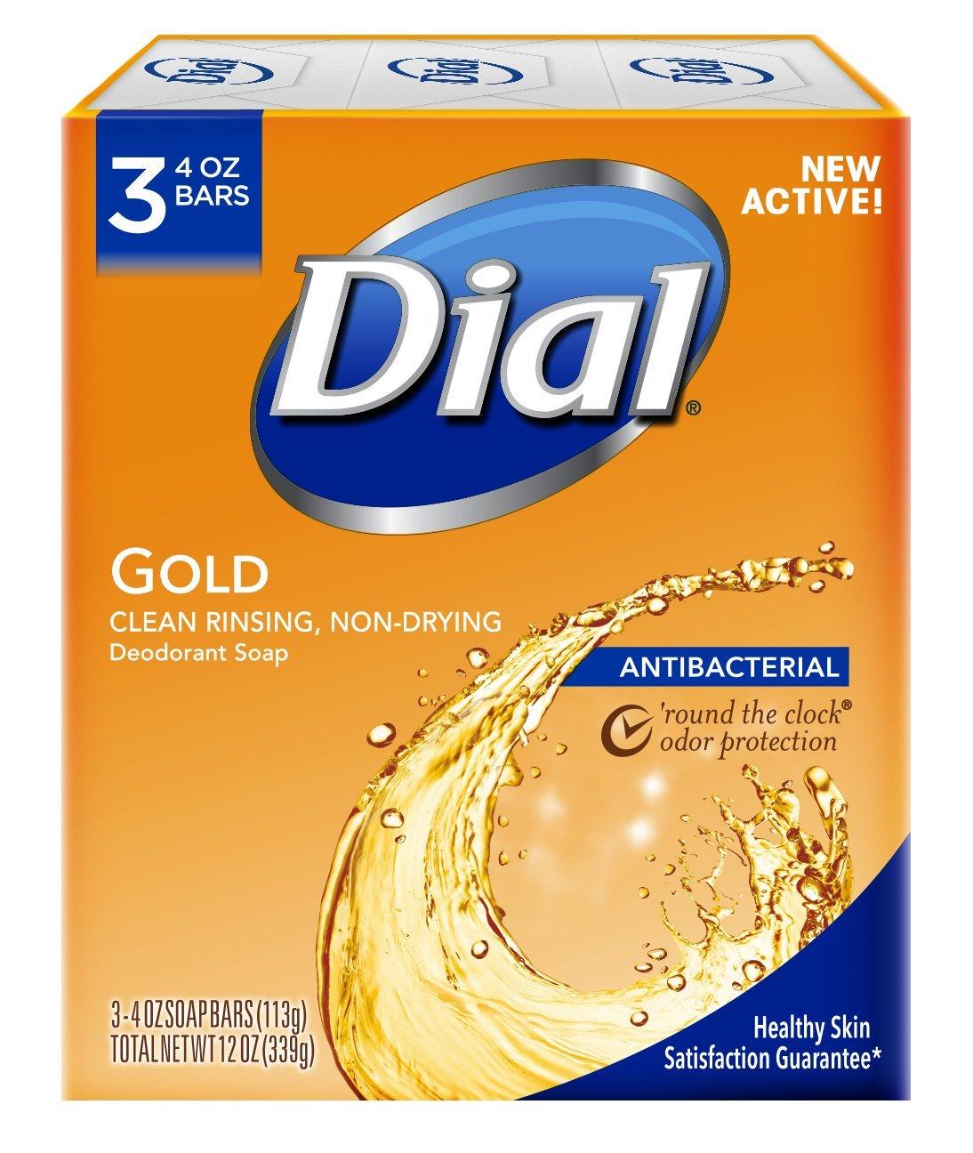Dial Antibacterial Deodorant Bar Soap, Gold, 4 Ounce, 3 Bars