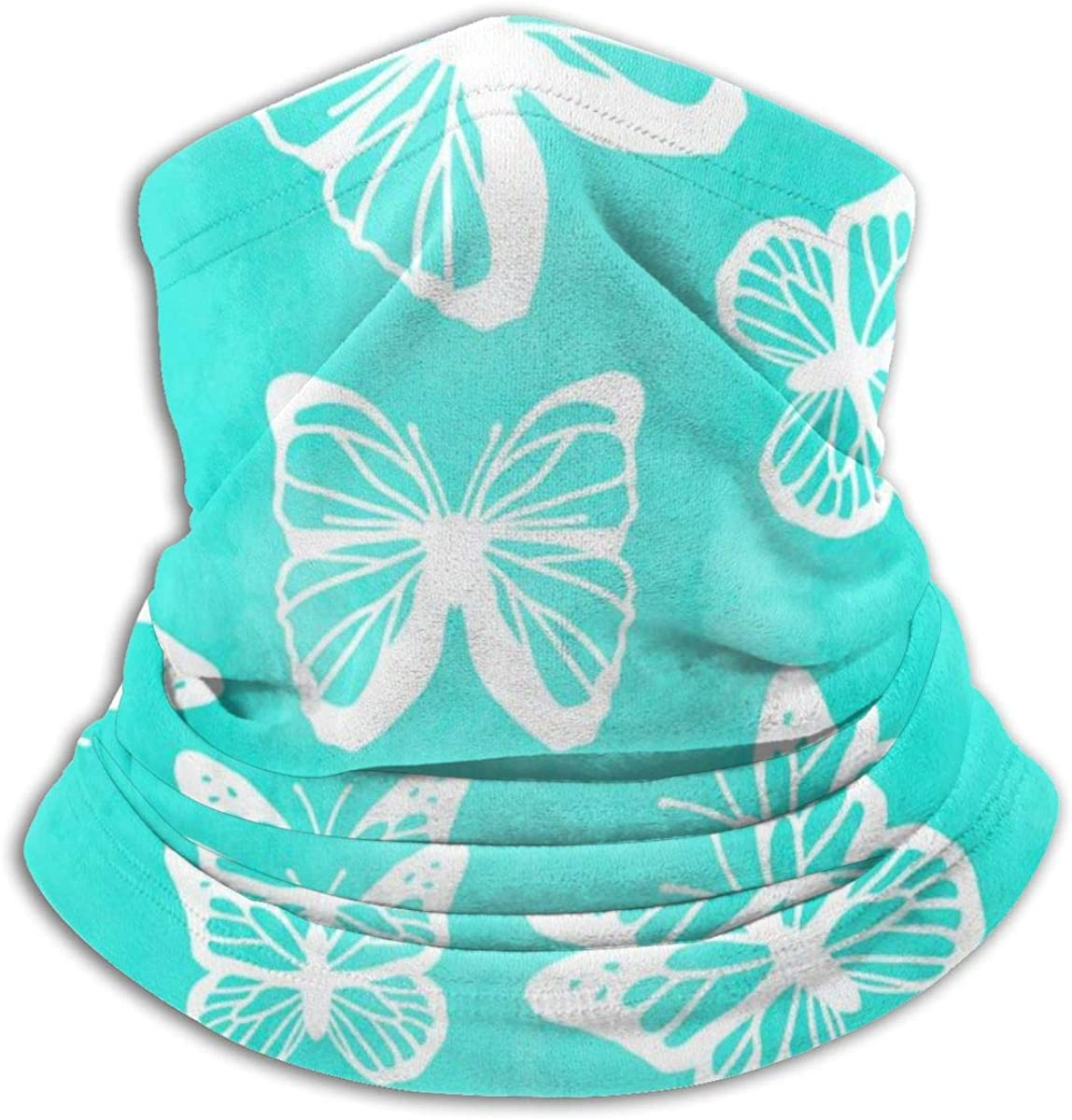 SLHFPX Neck Gaiter Face Mask Butterflies Spring Summer Turquoise Half Balaclava Ski Masks for Women Men Adult
