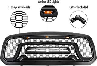 Seven Sparta Grill for Dodge Ram 1500 2013-2018 Rebel Grill and 3 Amber LED lights ABS Front Grille (with Letter)