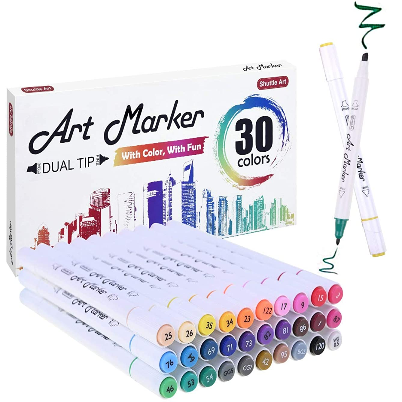 30 Colors Dual Tip Alcohol Based Art Markers,Shuttle Art Alcohol Marker Pens with Case Perfect for Kids Adult Coloring Books Sketching and Card Making
