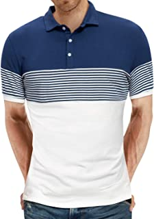 Men's Short Sleeve Polo Shirts Casual Slim Fit Contrast Color Stitching Stripe Cotton Shirts