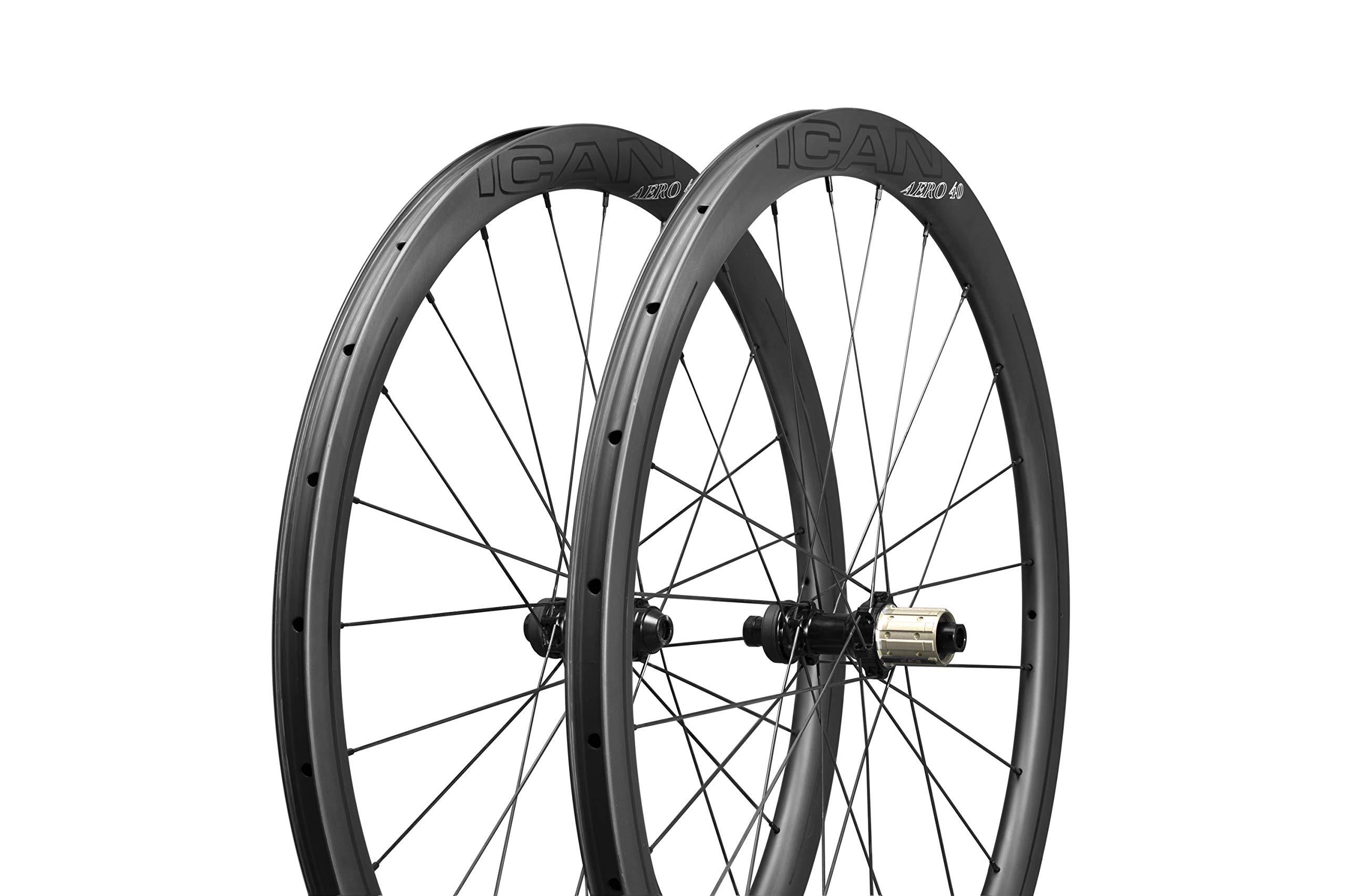 ICAN Ruedas de Carbono Aero 40 Disc Ruedas de Bicicleta de Carretera 40mm Clincher tubeless Ready Disco Freno 12x100/12x142mm sólo 1355g: Amazon.es: Deportes y aire libre