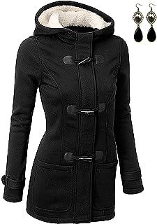 BYD Mujeres Espesar Hoodie Chaquetas Sudaderas con Capucha Encapuchada Abrigo con Horn Botones Jacket Cardigans Tops