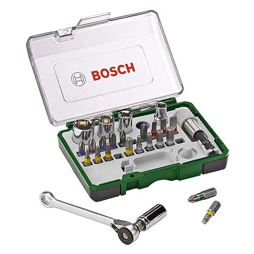 Bosch Professional 2607017160 Pack Unidades para atornillar, con Llave de carraca, versión estándar, 1 pack, Standard, 750 W, Negro/Verde, Set de 27 Piezas