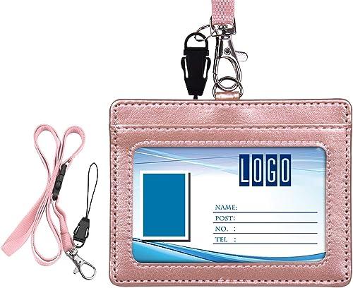 Porte-badge, Wisdompro Double Face en Cuir PU Porte-Carte D'identité avec Badge avec Lanière/Sangle de Cou Réglable d...