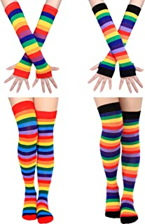 2 Set Women Long Striped Socks Arm Warmer Gloves Knee High Stockings for Cosplay