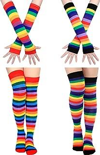 2 Set Women Long Striped Socks Arm Warmer Gloves Knee High Stockings for Cosplay