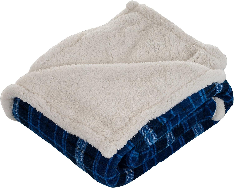 Lavish Home Blue Fleece Sherpa Blanket-Plaid Max 51% OFF 50