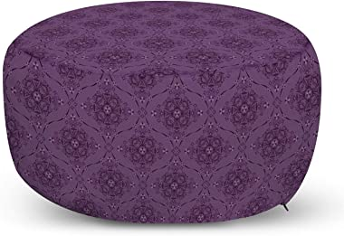 Lunarable Purple Ottoman Pouf, Monochrome Boho Illustration Oriental Ornaments Continuous Repetition, Decorative Soft Foot Rest with Removable Cover Living Room and Bedroom, Pale Eggplant and Plum