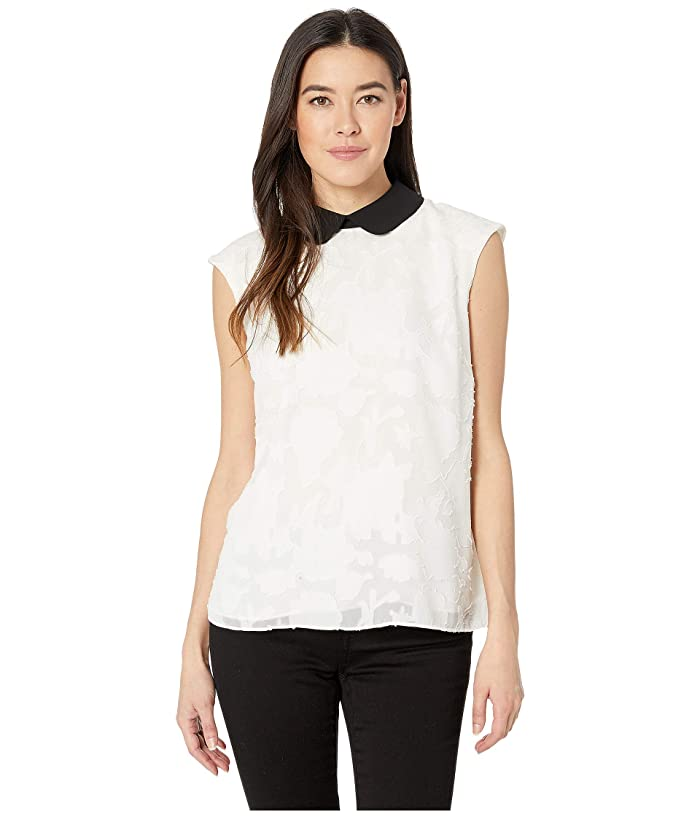 CeCe  Sleeveless Floral Clip Shell with Collar (Soft Ecru) Womens Blouse
