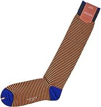 [MARCOLIANI【マルコリアーニ】]ロングホーズ DANDY SARTORIAL Palio stripe 3231L 323 DENIM/ORANGE コットン ナイロン ボーダー オレンジ×チャコール