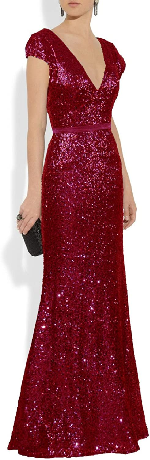 YSMei Women's Long Sequins Evening Dresses V Neck Formal Gowns Cap Sleeve YPM323