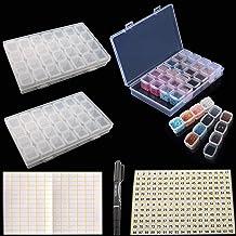 RUNCCI-YUN 2 Piezas Caja Organizadora de 28 Rejillas,Caja de Almacenamiento de Arte de Uñas,Caja de Almacenamiento de Pint...