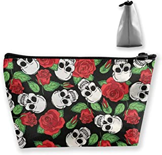 Makeup Bag Cosmetic Rose Skull Portable Bag Mobile Trapezoidal Storage Bag Travel Bags With Zipper