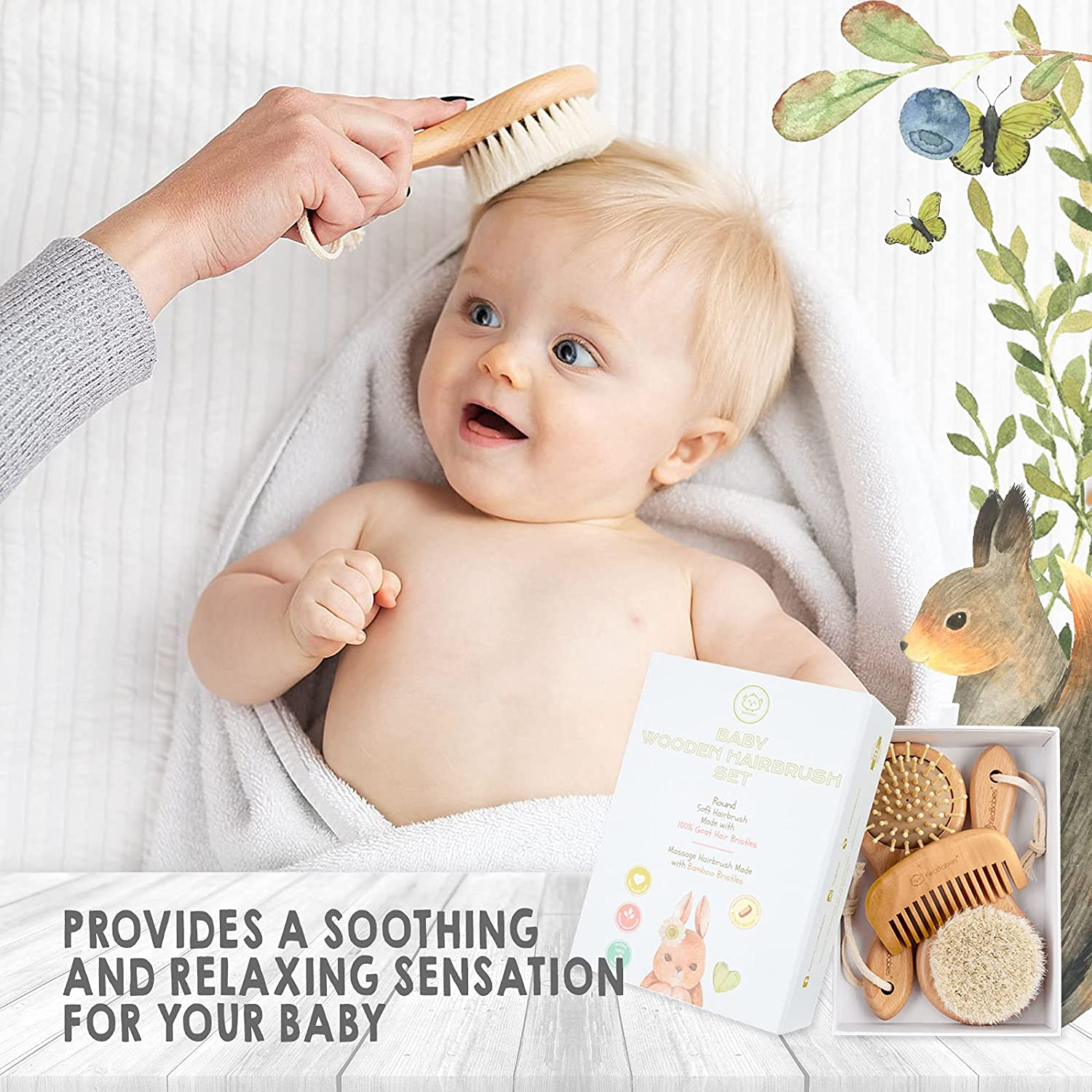 Baby Round Hair Brush and Comb Set for Newborn - Natural Wooden Hairbrush with Soft Goat Bristles for Cradle Cap - Perfect Scalp Grooming Product for Infant, Toddler, Kids - Baby Registry Gift
